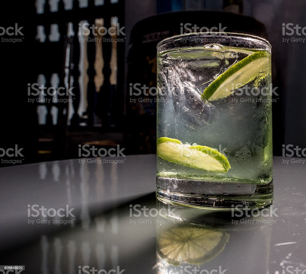Cocktail over the bar counter stock photo