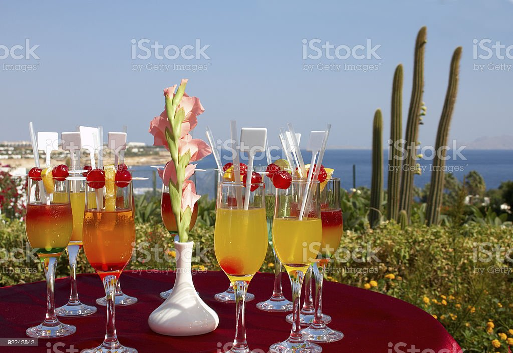 cocktail party in tropical resort royalty-free stock photo