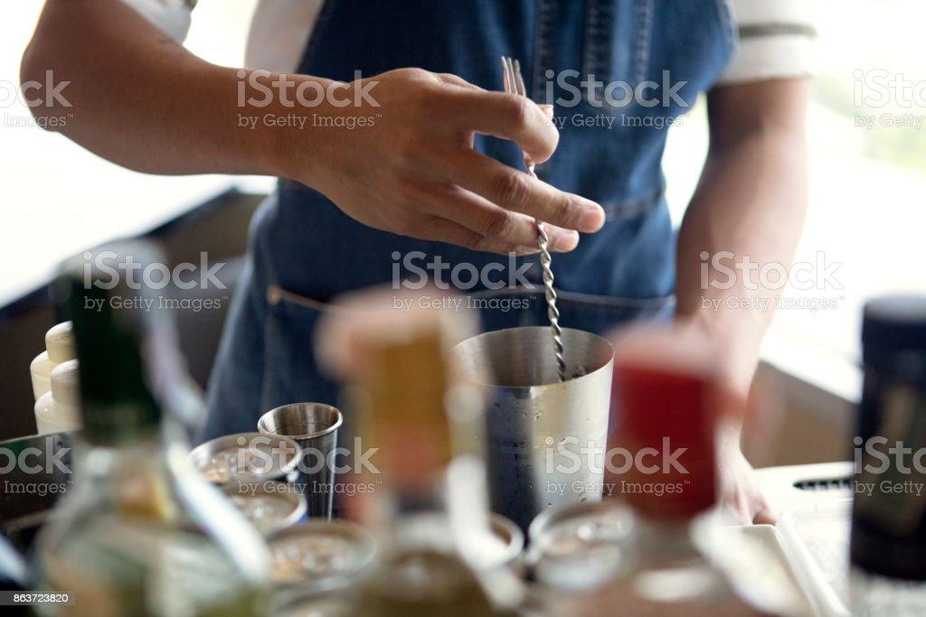 Cocktail preparing stock photo