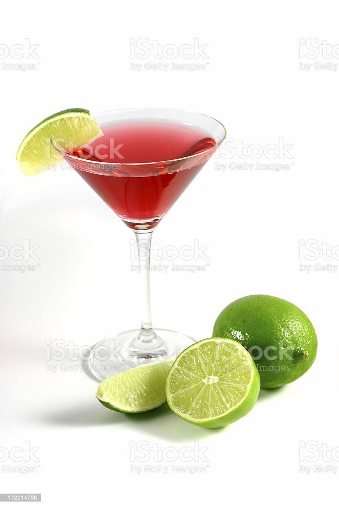cocktail series: Cosmopolitan with limes. royalty-free stock photo