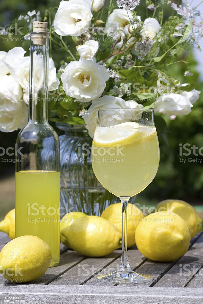 Cocktail served in the garden royalty-free stock photo