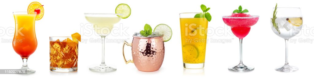cocktail set op wit - Royalty-free Alcohol Stockfoto