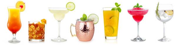 коктейль набор на белом - напиток стоковые фото и изображения