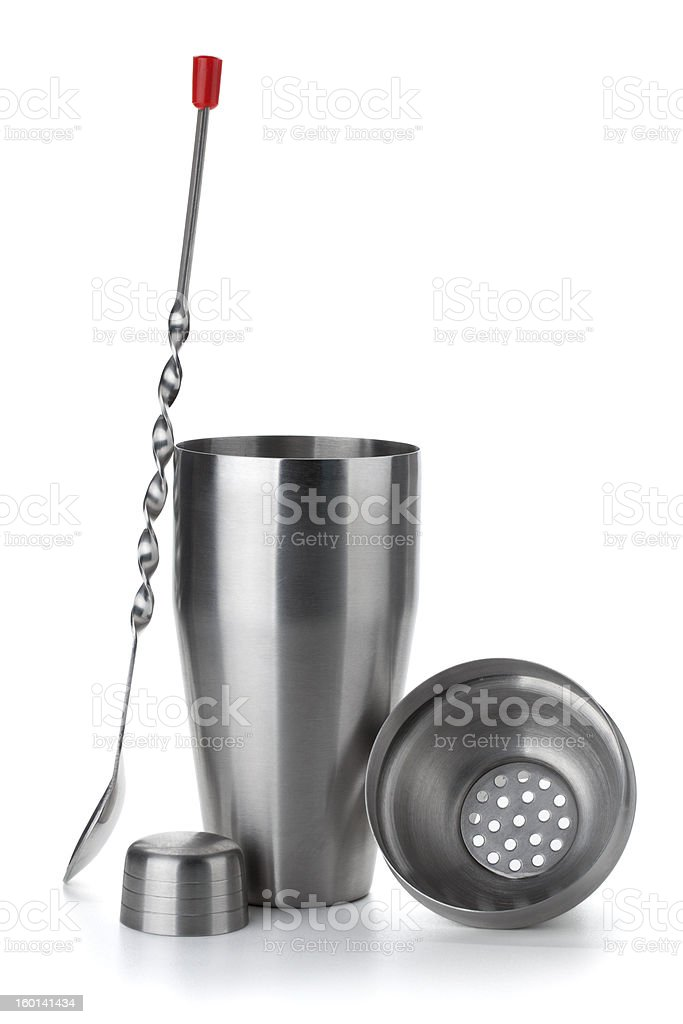 Cocktail shaker and spoon stock photo
