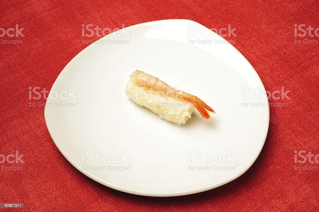 cocktail shrimp nigiri-zushi royalty-free stock photo
