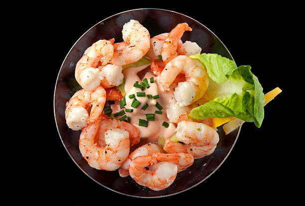 Cocktail Shrimp with Avocado Salsa stock photo
