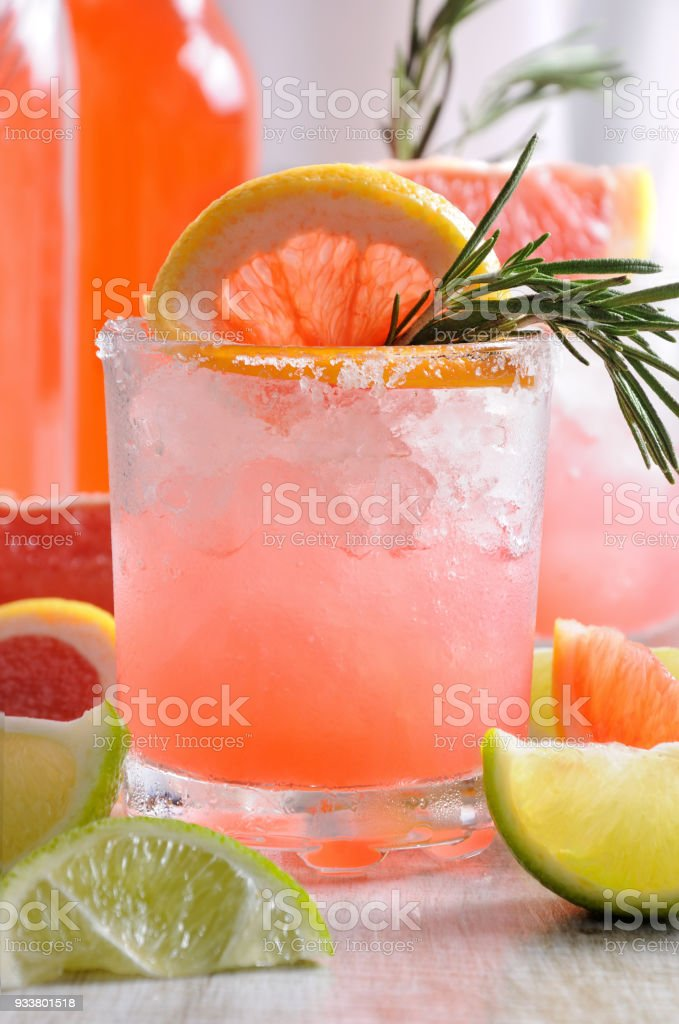 cocktail sparkling    pink Paloma stock photo
