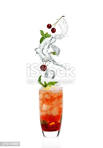 cocktail with cherries and splashes