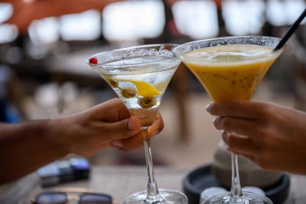 Cocktail toast stock photo