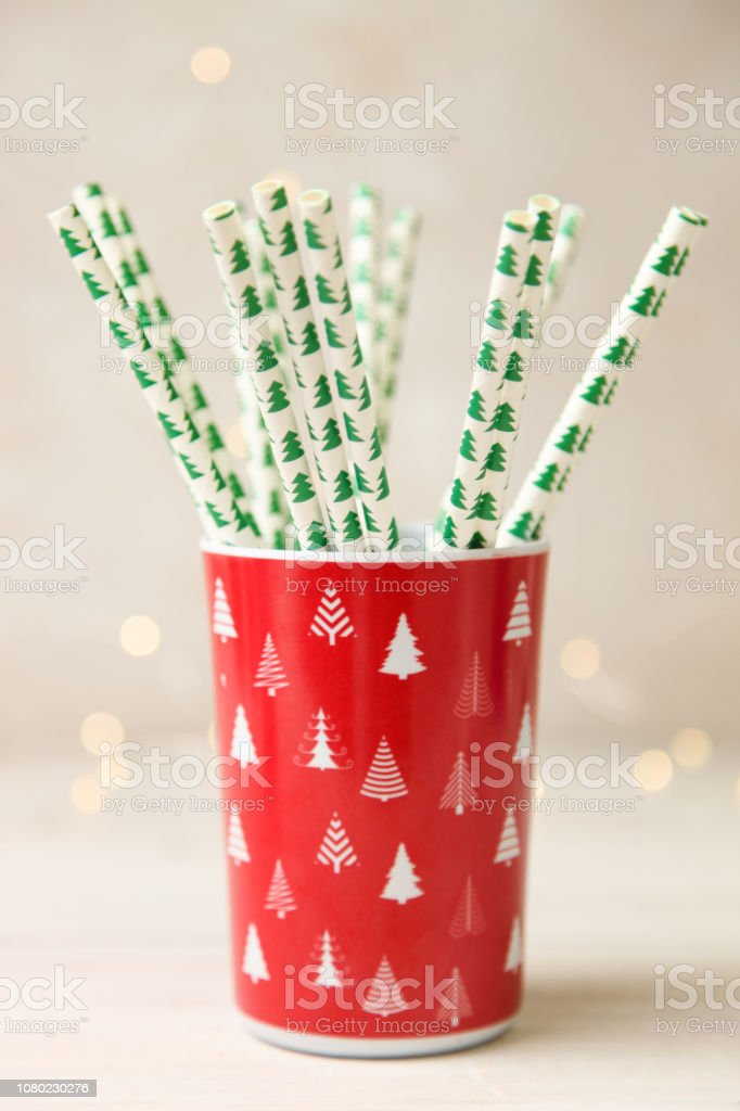 Cocktail tubs in a red Christmas cup. stock photo