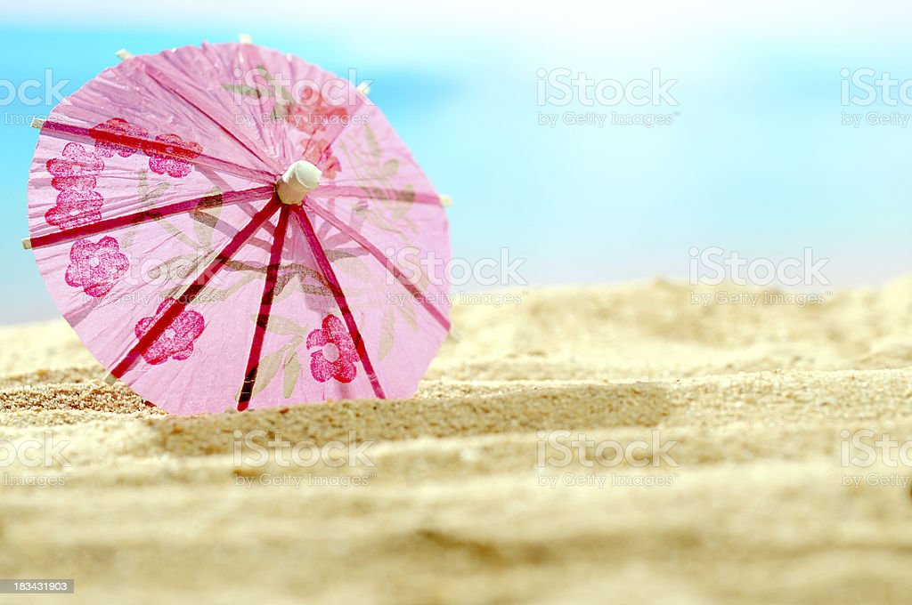 Cocktail umbrella with copy space stock photo
