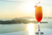 Cocktail & volcano & Aegean sea
