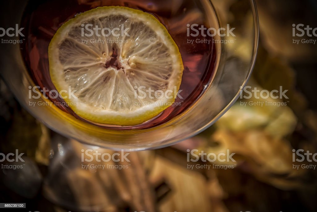 Cocktail with a Lemon stock photo