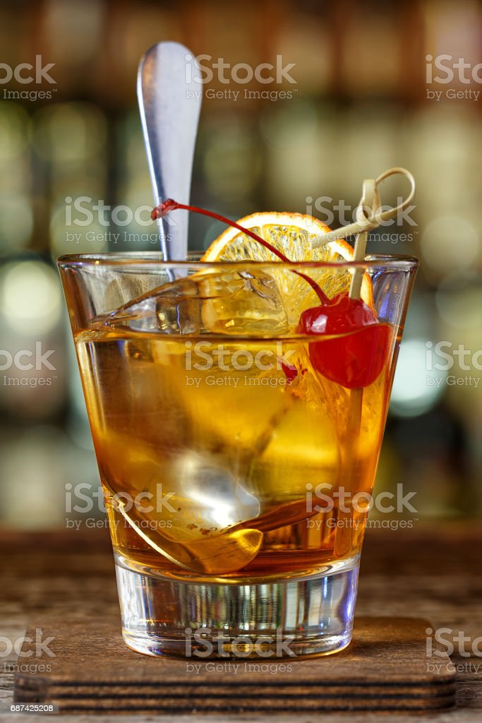Cocktail with bourbon stock photo
