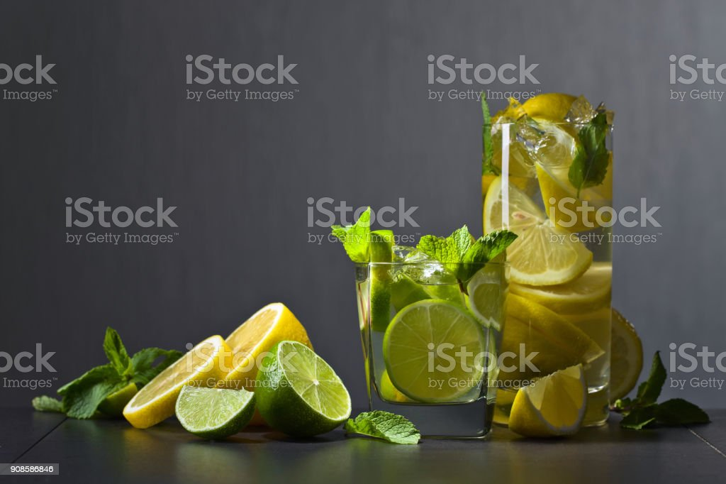 Cocktail with citrus and peppermint. stock photo