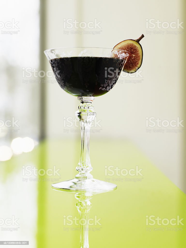 Cocktail with fig, close-up royalty-free stock photo
