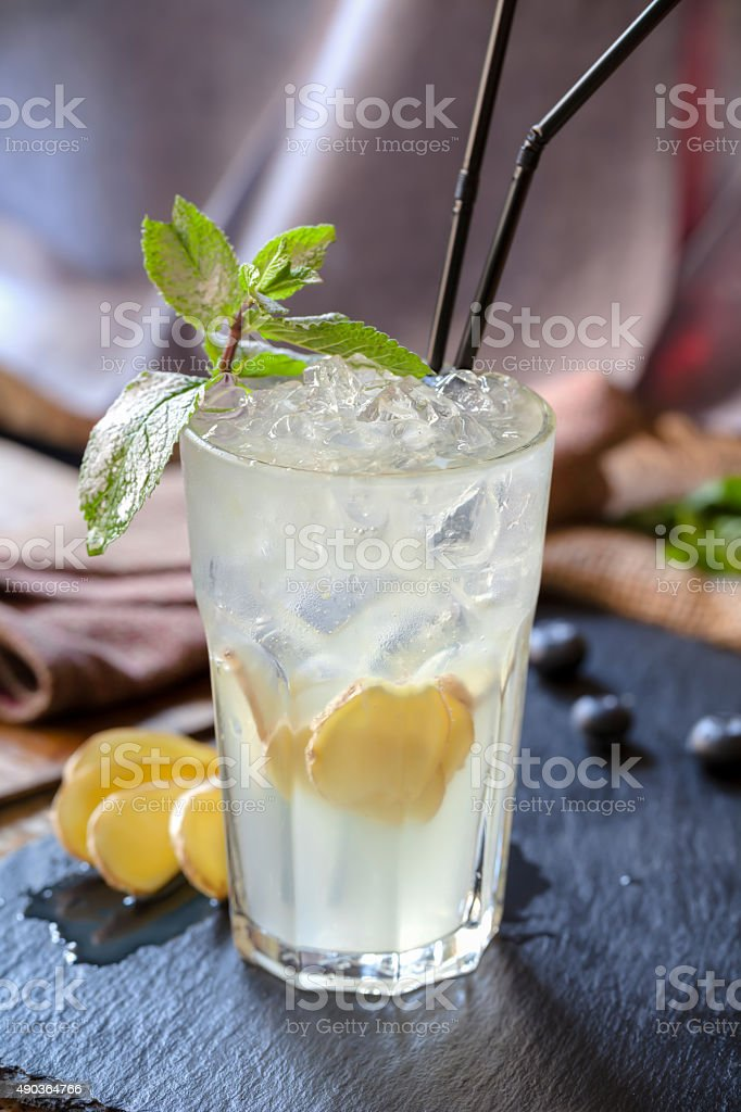 Cocktail with ginger Moscow mule stock photo