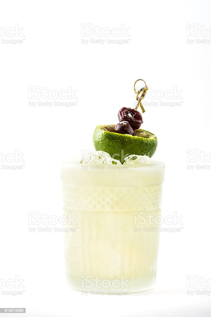 Cocktail with lime and berries stock photo