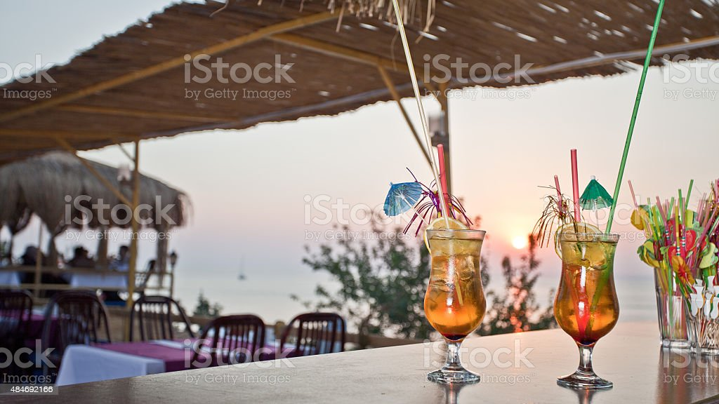 Cocktail with sunset stock photo