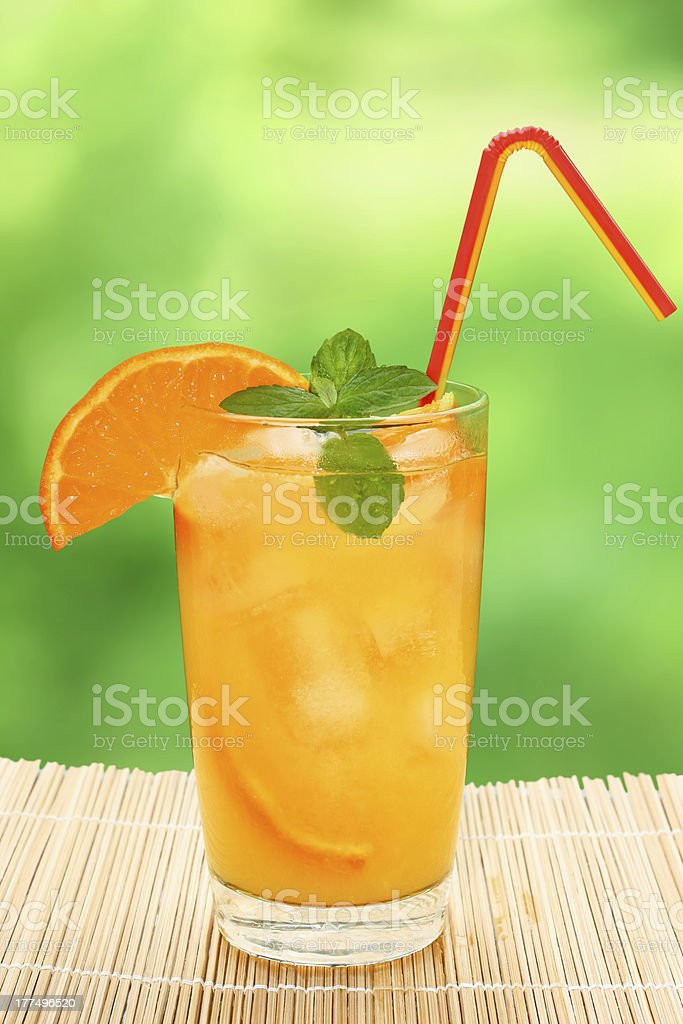 Cocktail with tangerine and lemon juice royalty-free stock photo