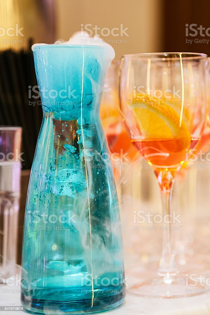 cocktails and wine glasses stock photo