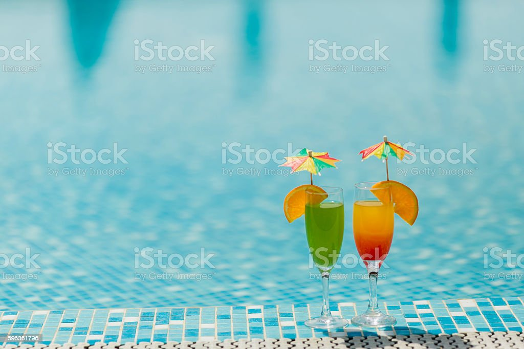 Cocktails by he pool royalty-free stock photo