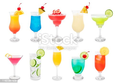 Colorful summer cocktails isolated on white