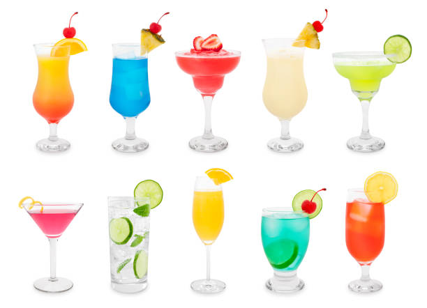 Cocktails Collection Colorful summer cocktails isolated on white garnish stock pictures, royalty-free photos & images