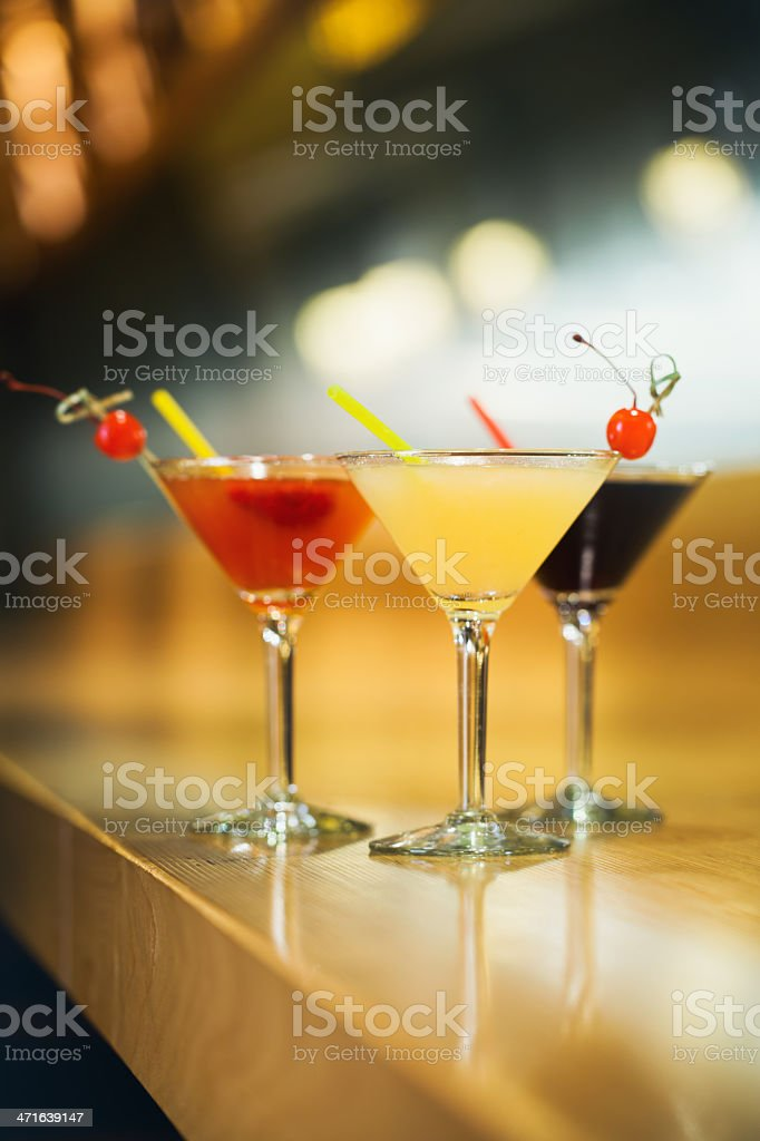 Cocktails on a bar table royalty-free stock photo