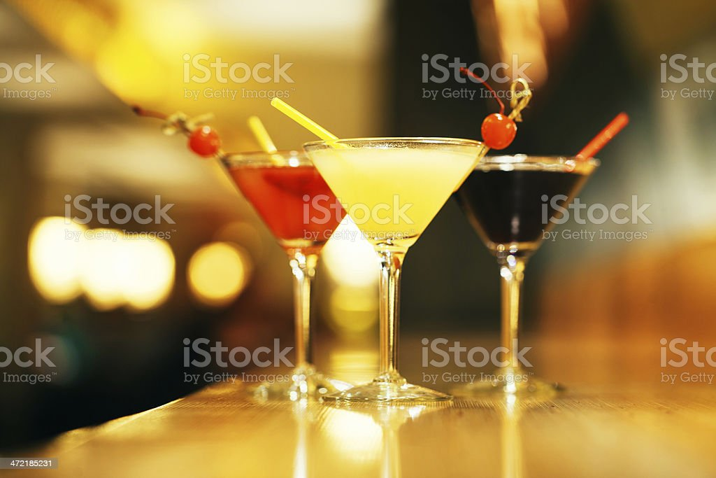 Cocktails on a bar table stock photo