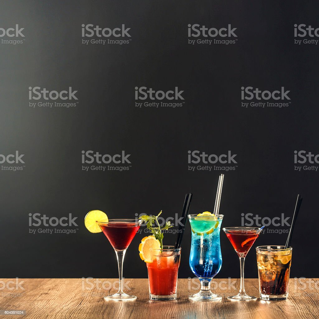 Cocktails on bar counter stock photo