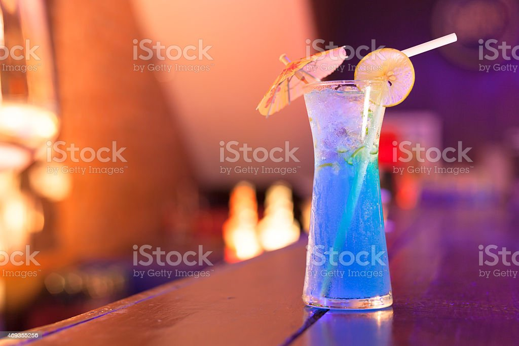 Cocktails on the bar counter in night club stock photo