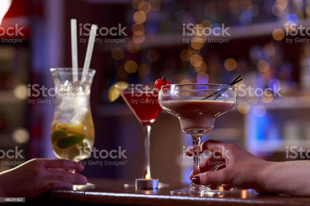 Cocktails on the bar counter stock photo