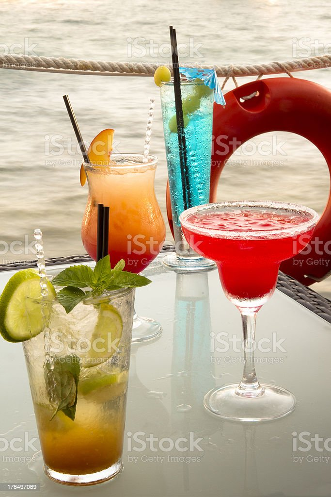 Cocktails on the beach royalty-free stock photo