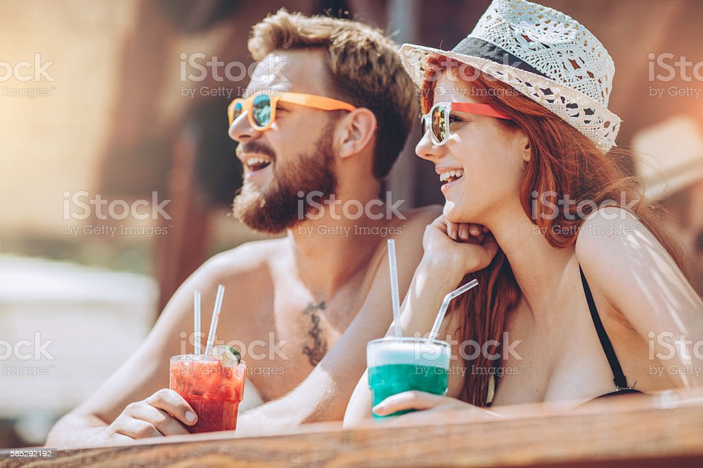 Cocktails On The Beach stock photo