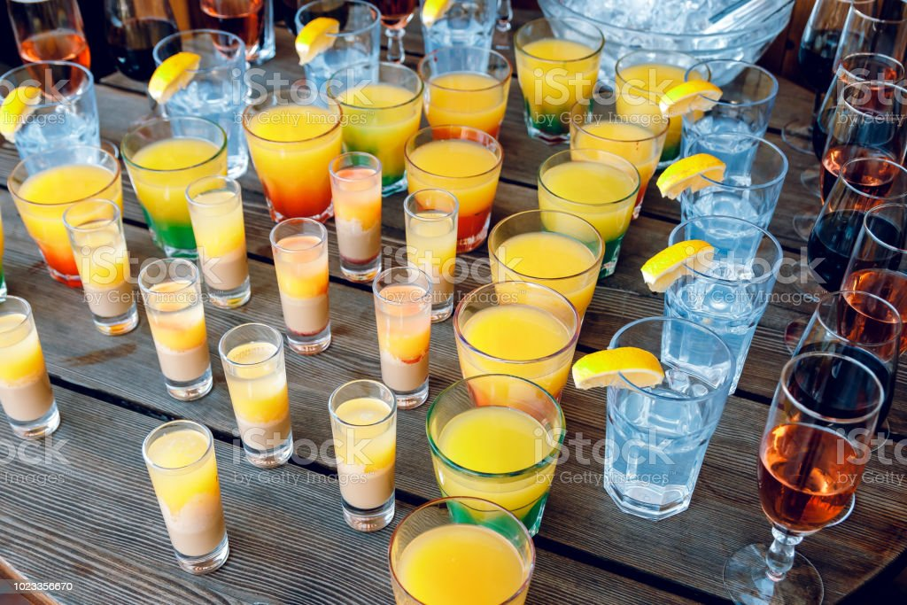 Cocktails, oranges, bananas, cheese, food stock photo