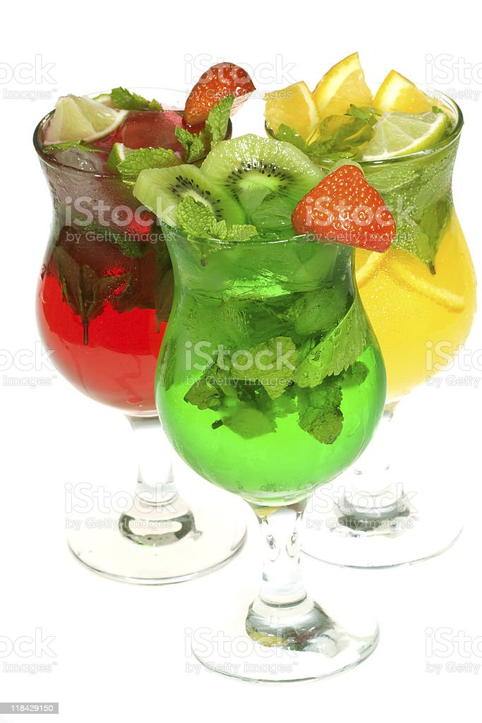 cocktails with fruits royalty-free stock photo