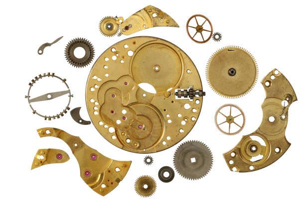 Cockwork mechanism - various parts stock photo