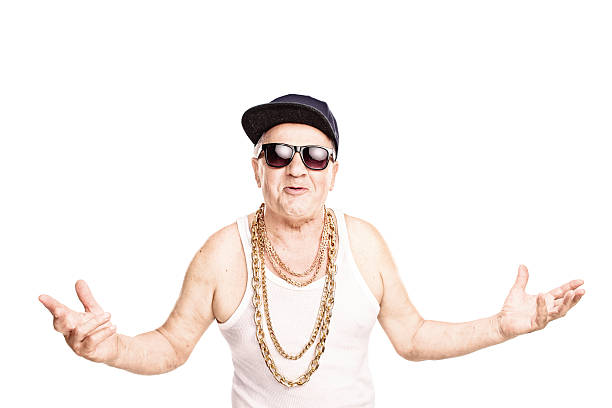 Cocky senior rapper gesturing with his hands stock photo