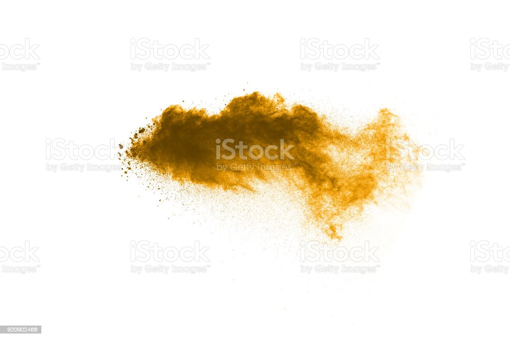 coco color particles splatter on white background. Deep brown dust splash on white background. stock photo