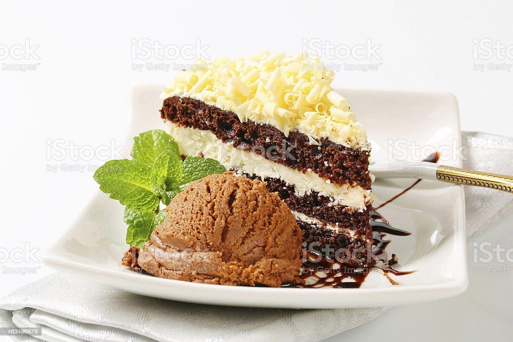 Coco nut cake with chocolate and ice cream stock photo