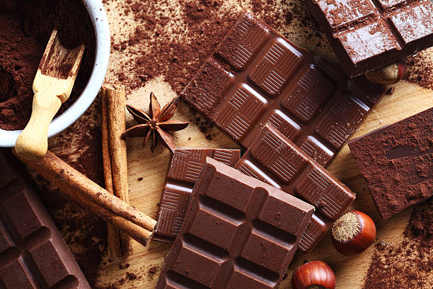 cocoa and chocolate bar stock photo