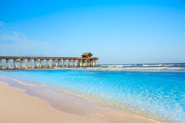 Cocoa Beach pier in Cape Canaveral Florida stock photo