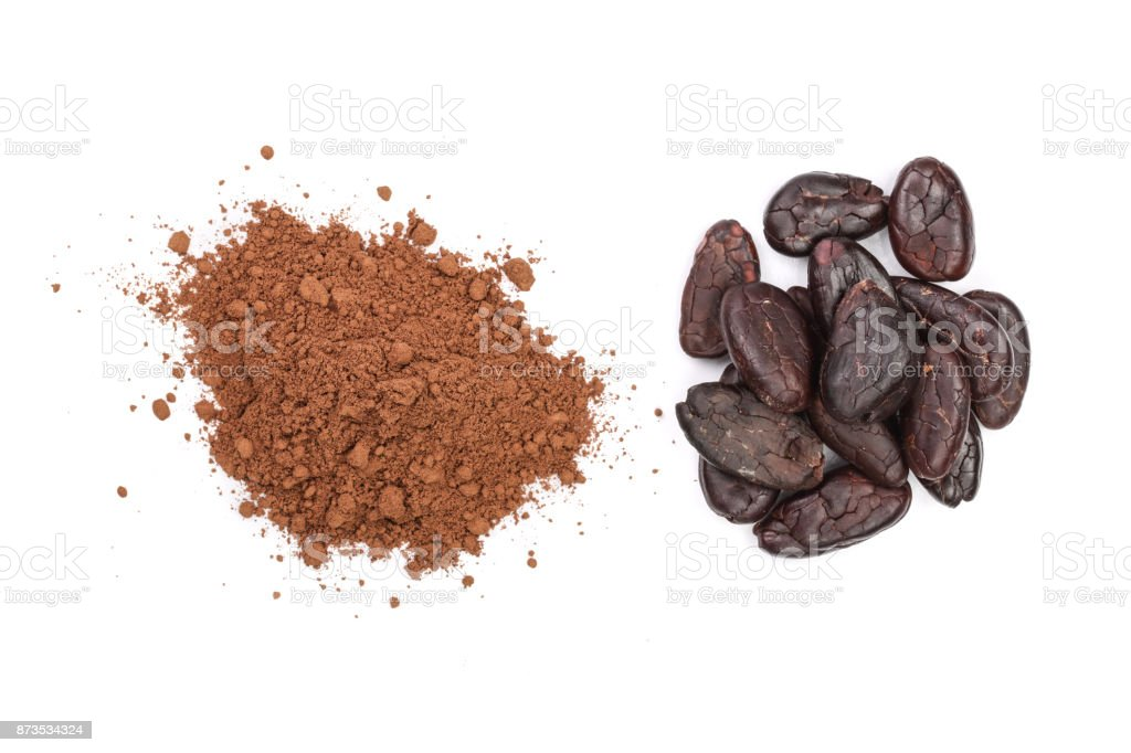 cocoa bean and cocoa powder isolated on white background top view stock photo