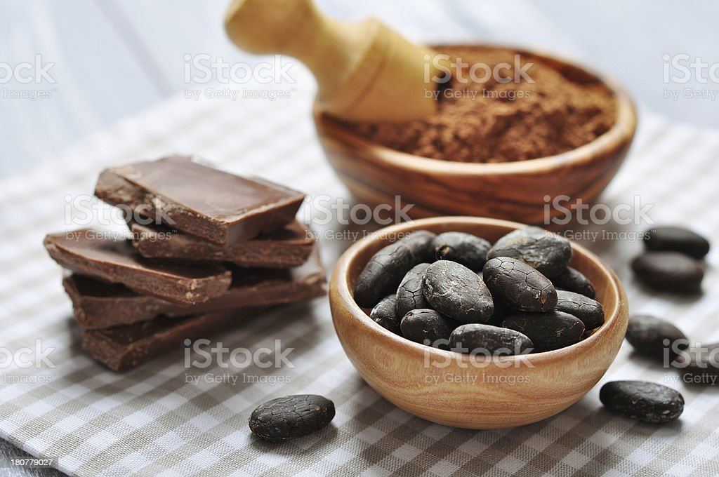 cocoa beans and  powder royalty-free stock photo