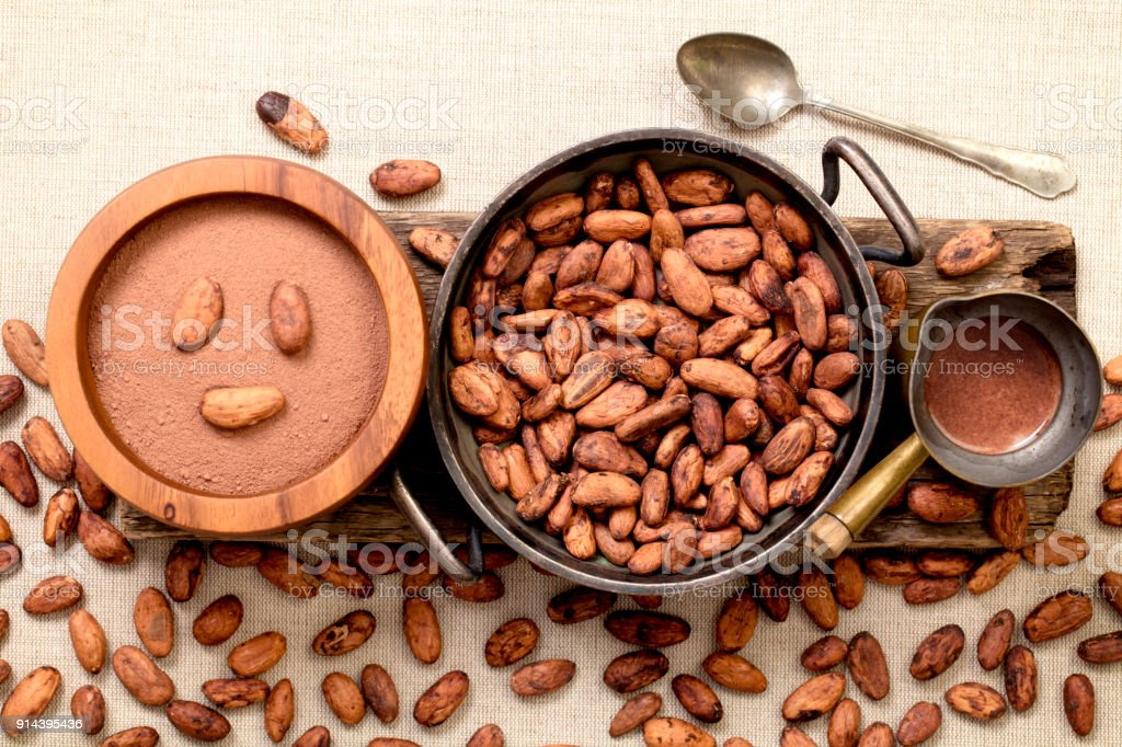 Cocoa Beans, Powder and Drink on Burlap stock photo