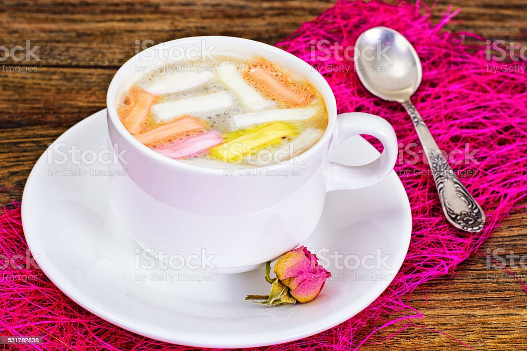 Cocoa, Coffee with Marshmallows Sweet Food stock photo