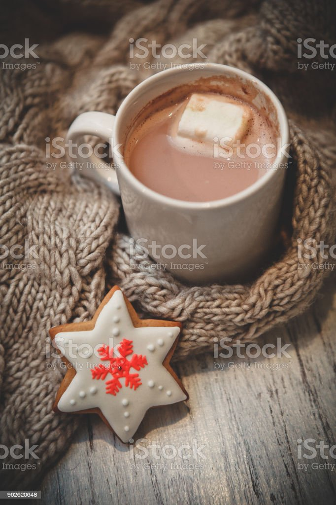 cocoa in a cup with marshmallow and gingerbread in the shape of...