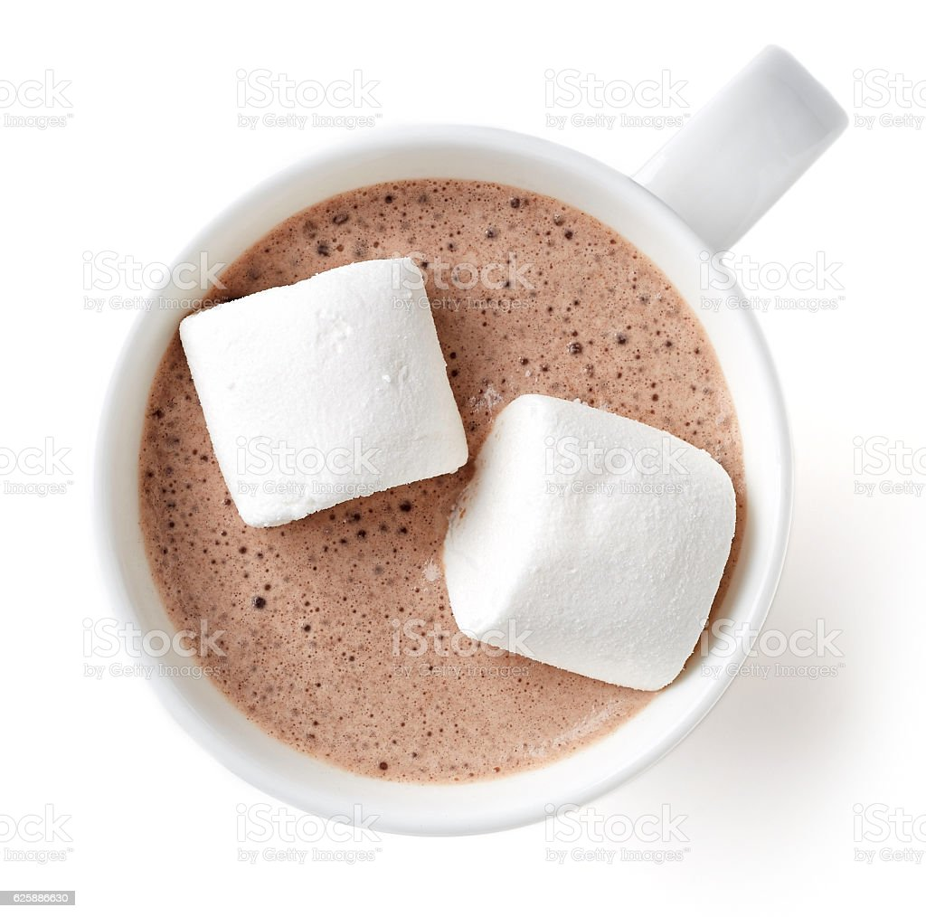 Cocoa drink in white mug isolated on white, from above - foto de acervo