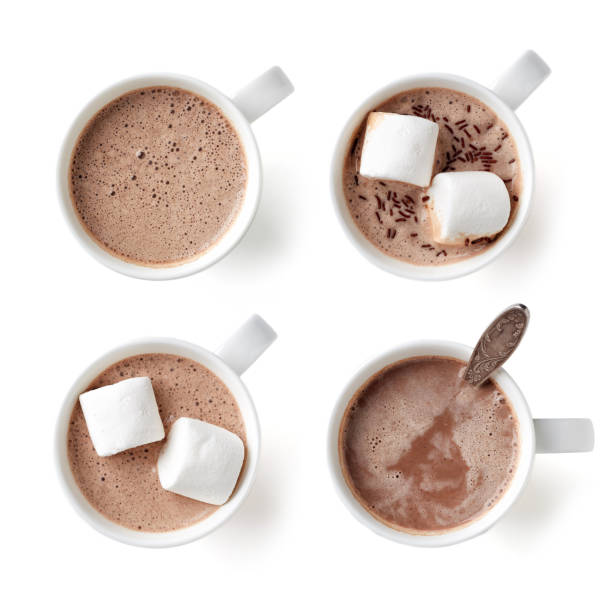 cocoa drink in white mug isolated on white, from above - hot chocolate stock photos and pictures